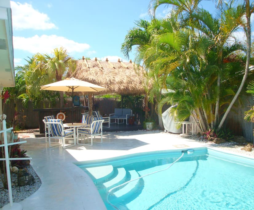 """It's Just Another Day In Paradise"" at your own private pool and Tiki Hut and bar."
