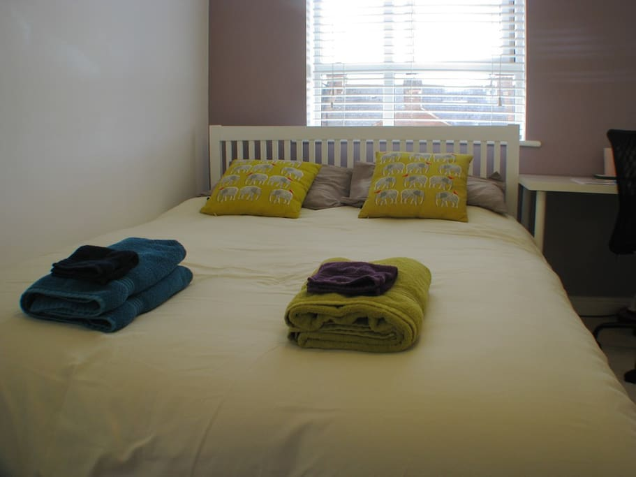 The bed is king-size with a memory-foam mattress and we provide freshly laundered towels and face cloths.
