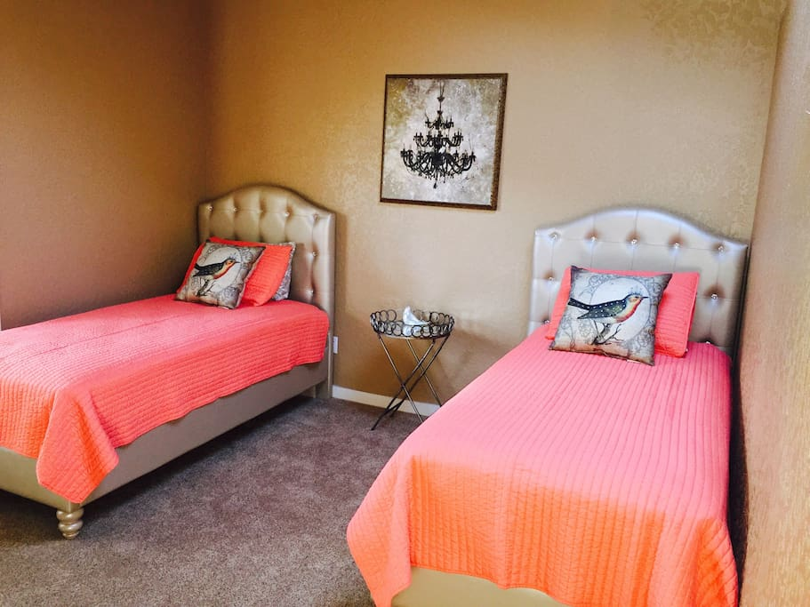 Newly decorated guest room