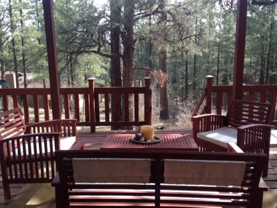 downstairs deck to backyard