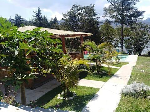 Beautiful nature cabins  in front of Ayarza Lake.