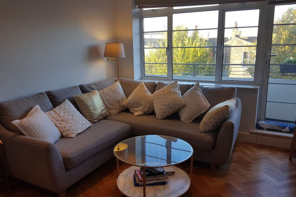 Large comfortable sofa with coffee table and west-facing view