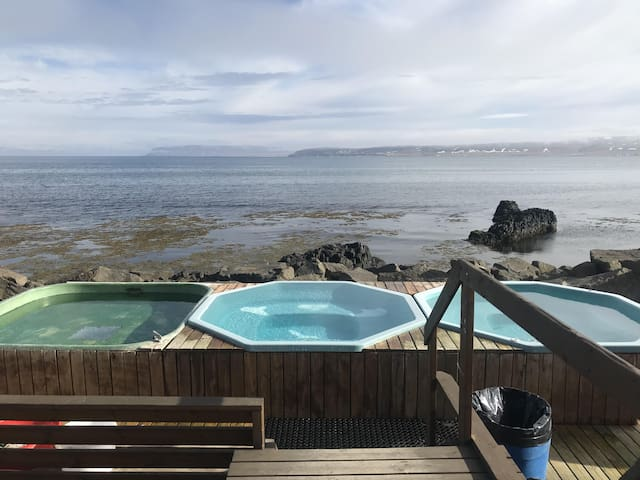 The wonderful hot tubs at our village are free of charge and with amazing view