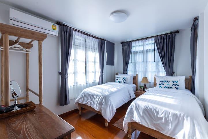 Twin room, 2 Single beds, Comfy Firm & Soft Mattress, shared bathroom, Garden View & City View