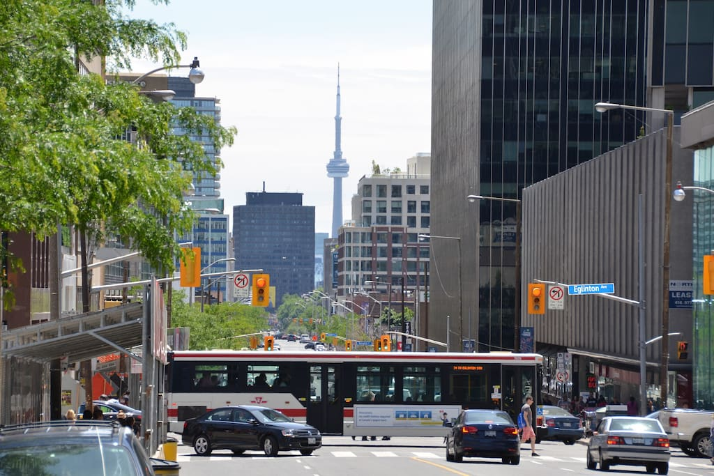 View of CN Tower from Yonge Street and Eglinton Avenue