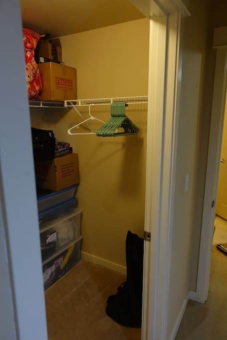 Open Closet Space and Hangers