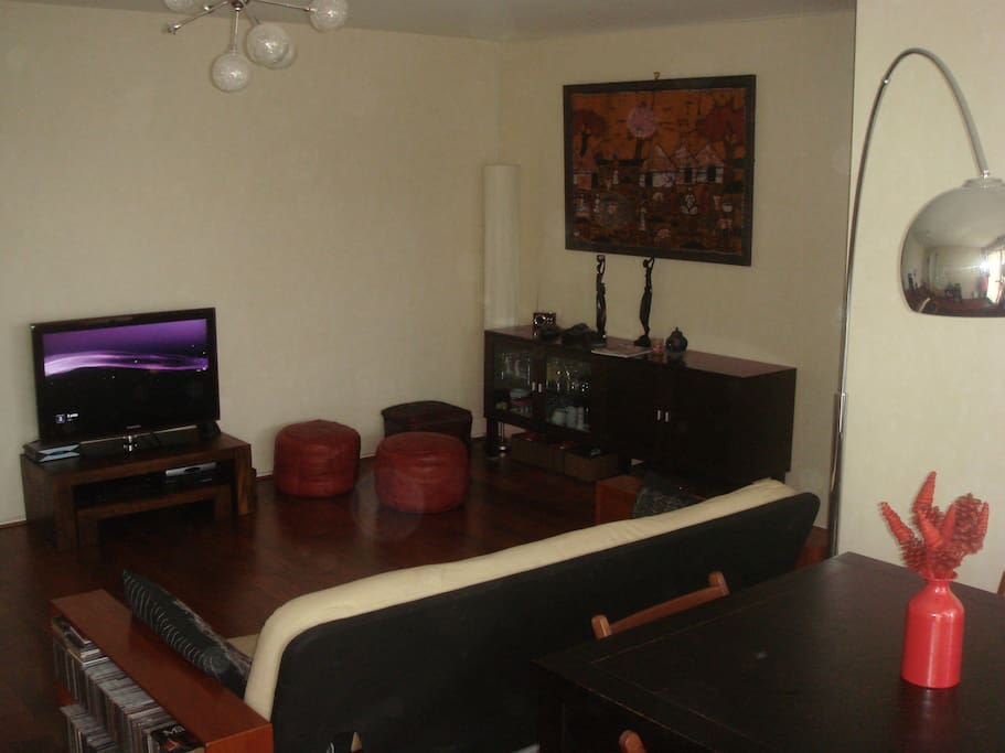 The living room with internet tv cable