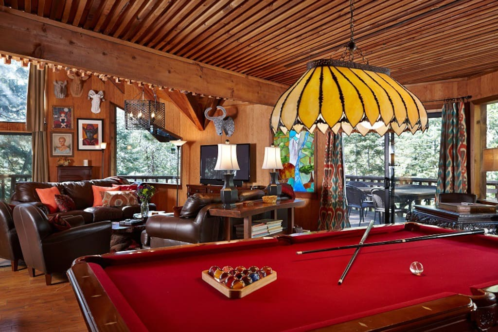 Perfect game of pool with custom Lily Rock Lodge balls await you.