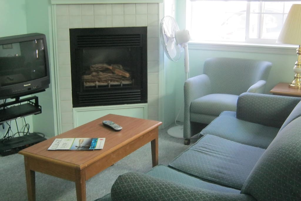 Gas fireplace, tv, dvd player, free wifi