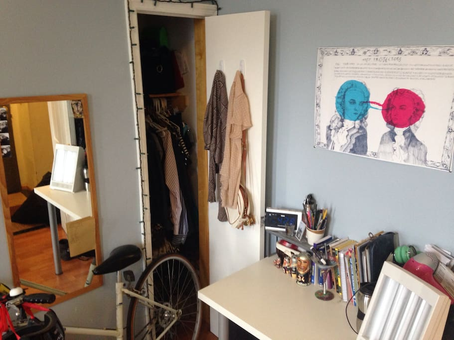 Closet and desk give you room to setup, connect to wifi, get some work done or read a book
