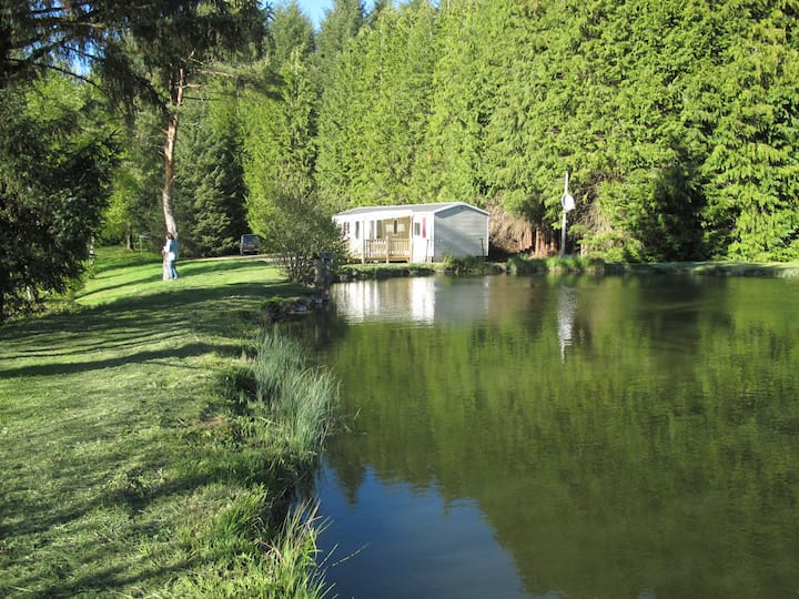 Mobile-home des Gillots, étangs de pêche, barque.