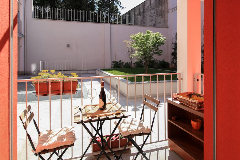 your balcony on the private courtyard