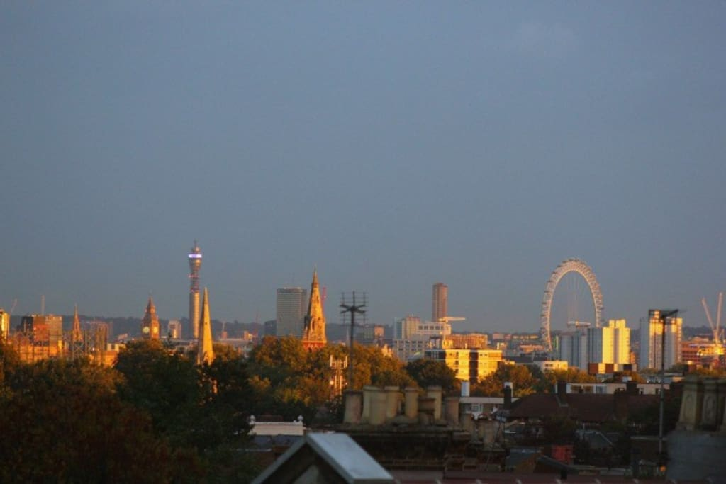 View of London skyline from one of the loft bedrooms