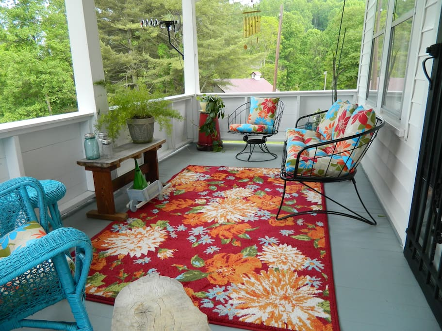 Two porches and  two patios