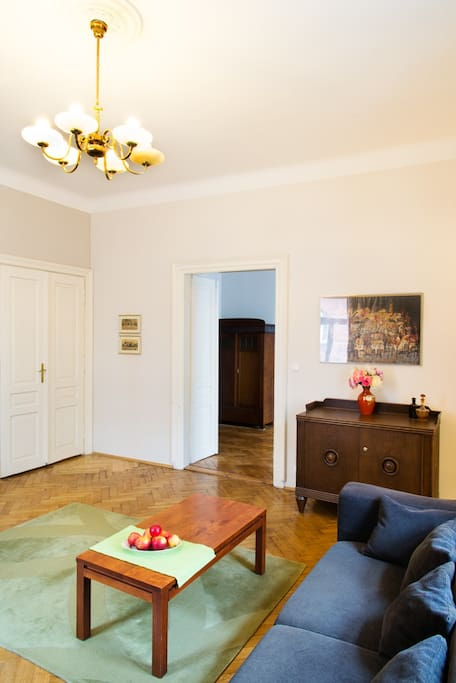 Living room: each room in the apartment has 2 sets of doors.