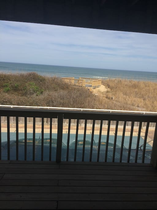 Ocean view from bed, looking out the sliding doors.