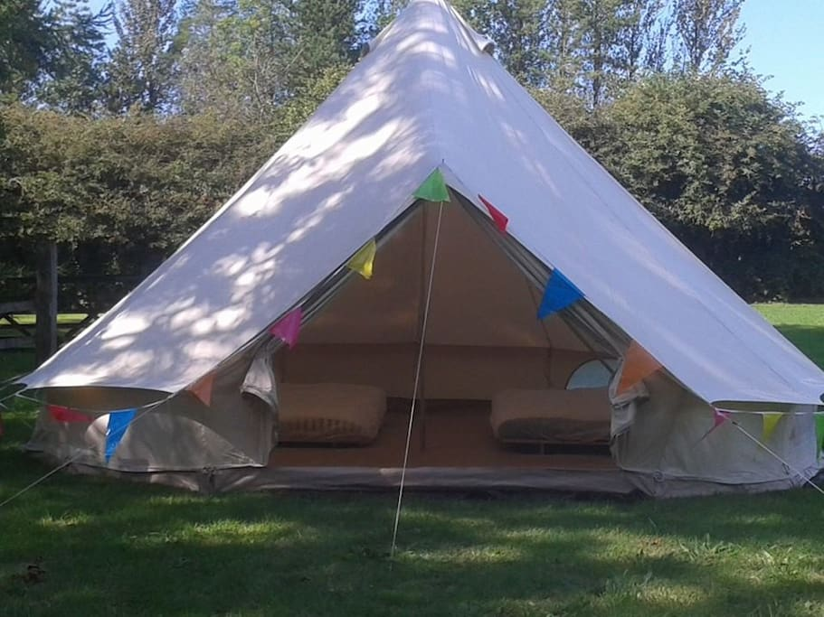 basic bell tent - with two double beds - just to give you an idea of the size of the tent