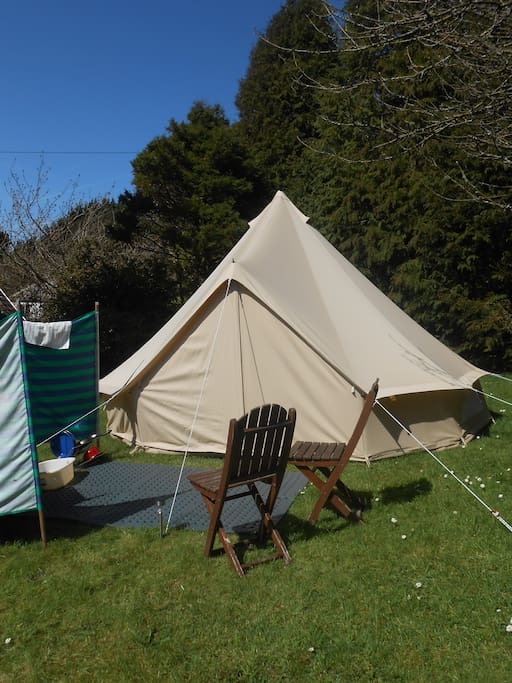 bell tent with chairs!