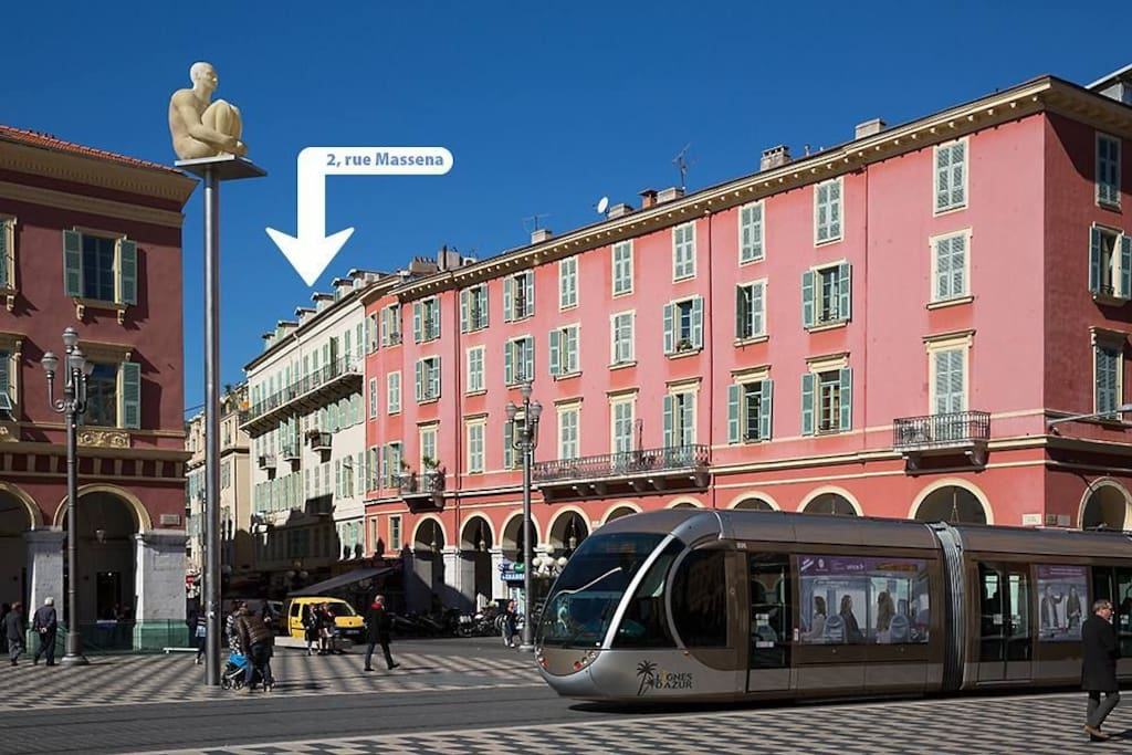 We are right next to Place Massena (but it's quiet!)