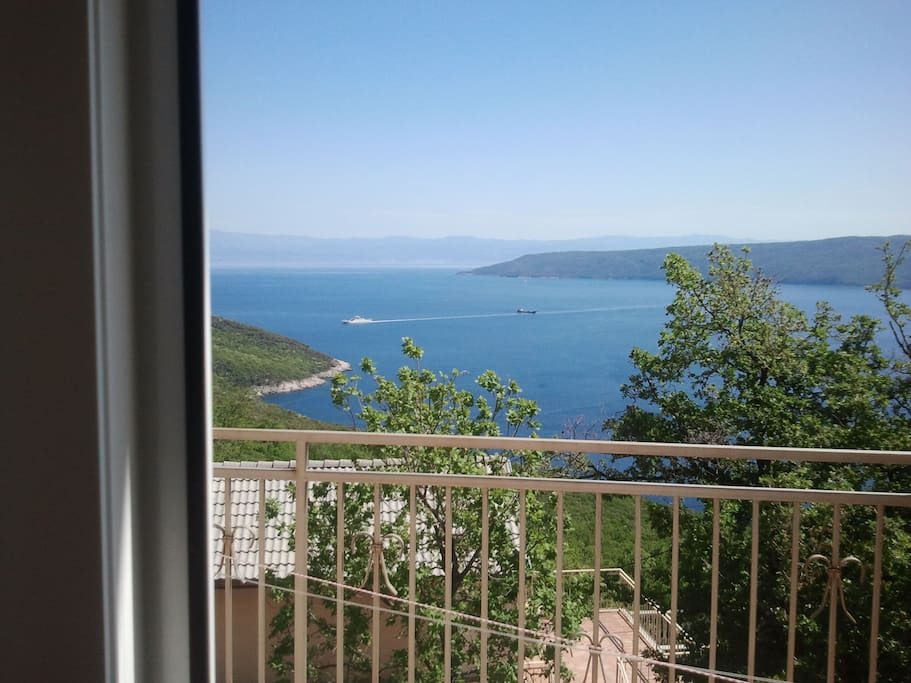 Rijeka, the kvarner bay and the island of Cres from the terrace.