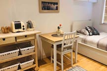 Single bed and dining table