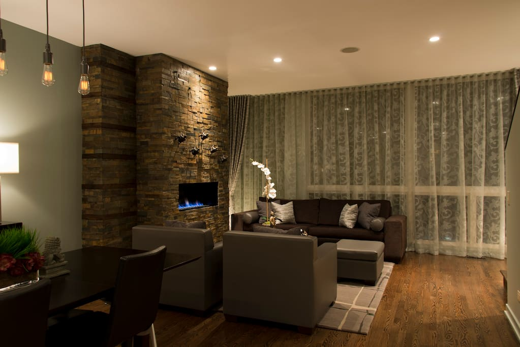 2nd. Level/Main Living:  Modern gas fireplace in shared living room