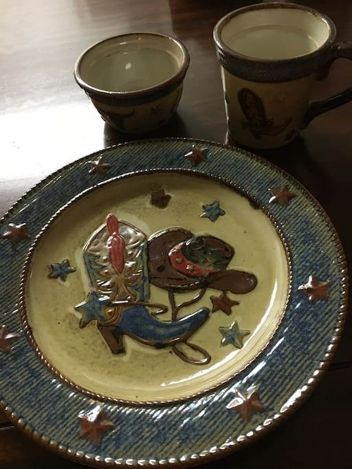 Cowboy dishes for 8 plus serving pieces