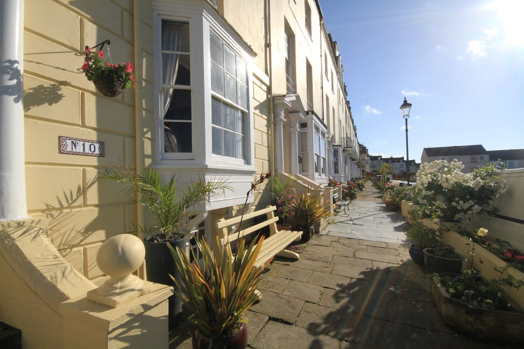 To the front of the house is a raised terrace with seating enjoying wide ranging views over the Bristol Channel to Wales. Great place for watching the superb sunsets.