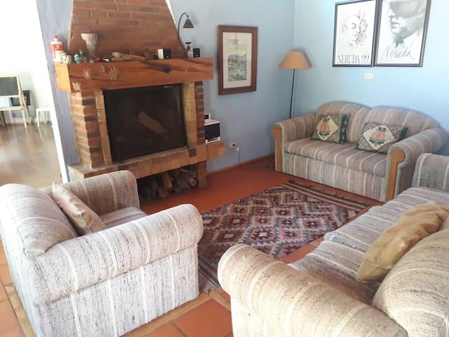 Sala de estar con chimenea.