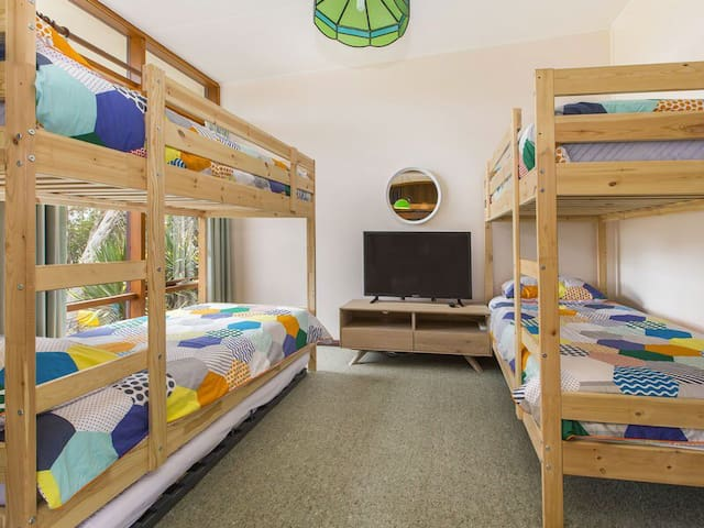 Bedroom 3 - two bunks and a trundle. Add the bean bags (from upstairs) and entertain the kids with an evening DVD marathon.