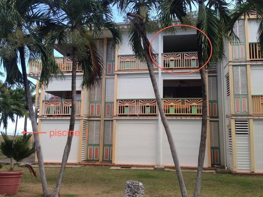 le studio est situé dans le bâtiment Corail, juste à côté de la piscine.