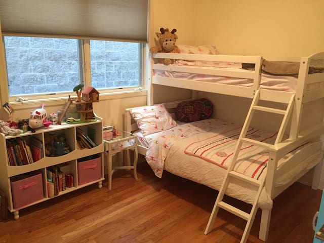 second bedroom- full size bottom bed and twin top bed.