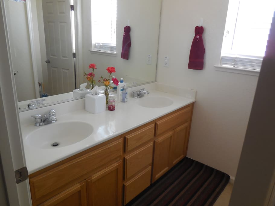 Bathroom with separate vanity (vanities are labeled according to room); door on the right (visible on the mirror) leads to shower/tub and toilet