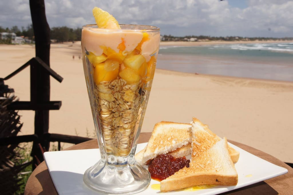 Enjoy a Breakfast after a walk on the beach or an early morning swim in the bay