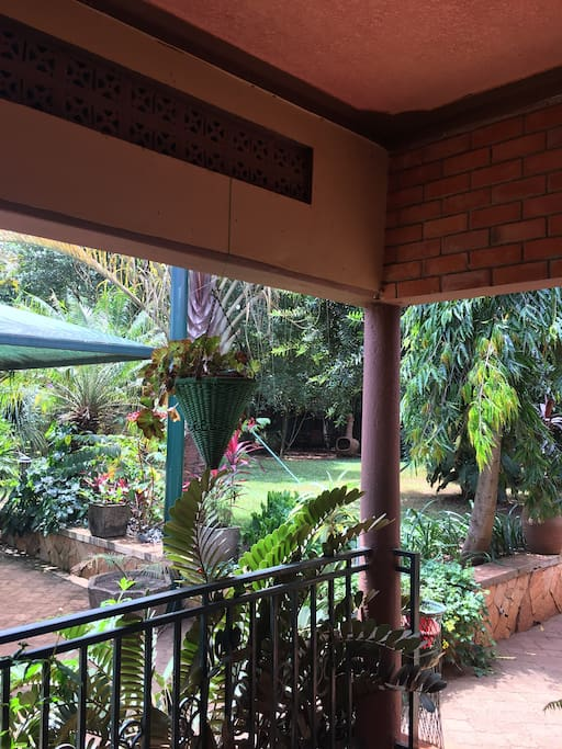 View from the balcony to the garden