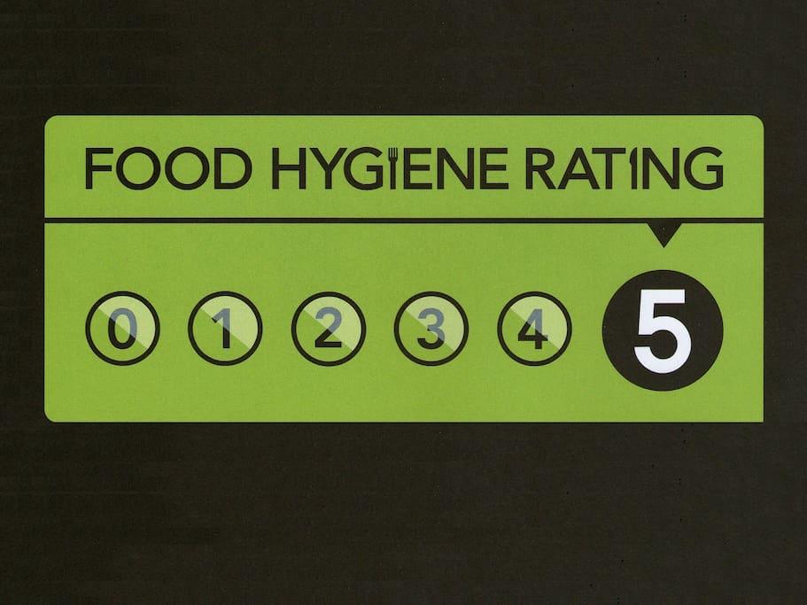 5* Food hygiene rating.