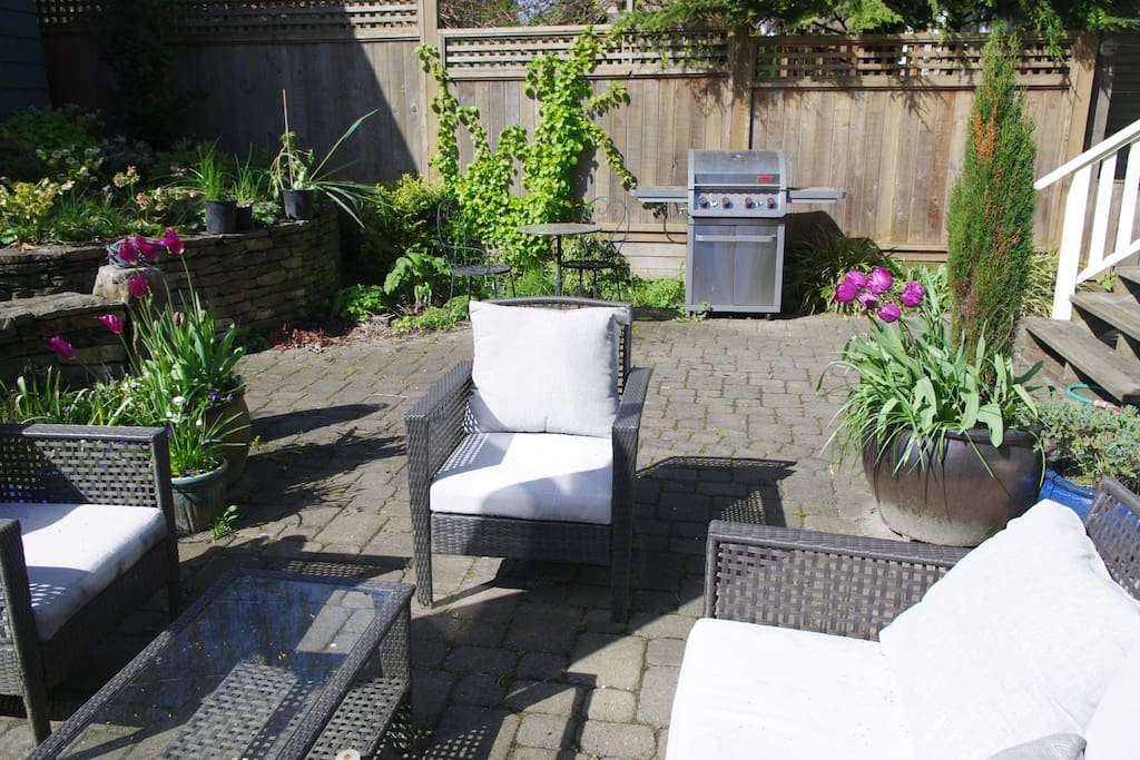 Patio and BBQ on sunny south side of house