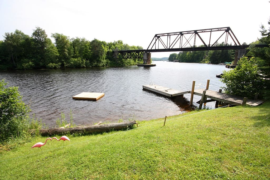 Swim in the slow moving river, refreshing, clean and warm or fish right off the dock