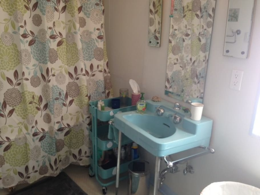 Antique sink, toilet and clawfoot tub/shower.