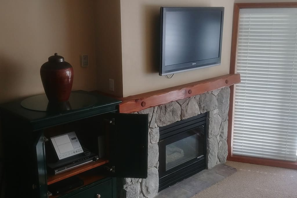 Gas fireplace and big screen TV