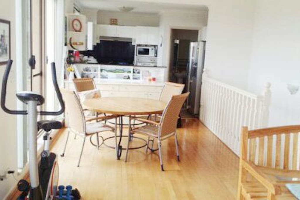 Upstairs dining area and kitchen