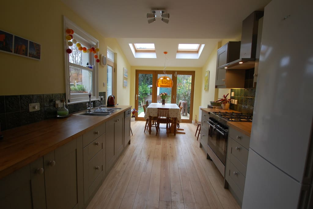 Kitchen with patio doors onto deck