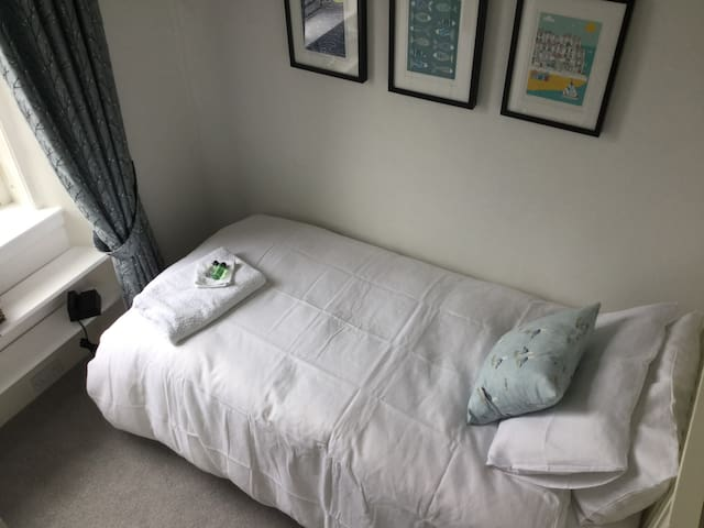 Refurbished room June 2017 - new bedding, carpet, curtains, decoration and art