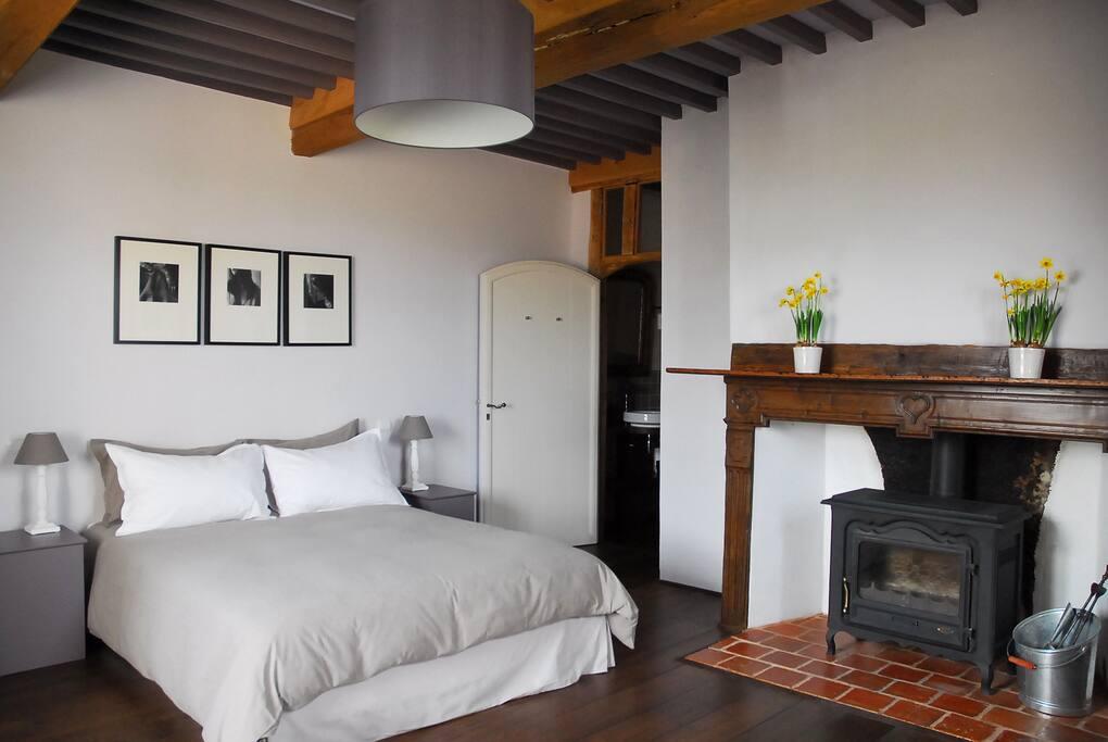 Chambre spacieuse, lit 1,60m avec cinq zones de confort.