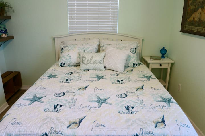 Queen size bed with thick foam mattress