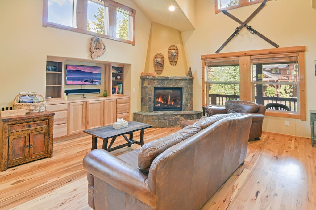 Spend quality time with friends and family in the living room in front of the gas fireplace.