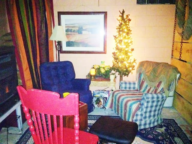 Relax, read, or just get warm by the pellet stove in the sitting area