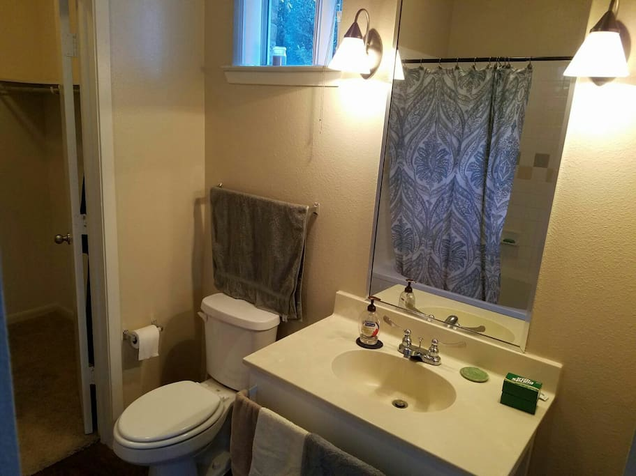 Private bathroom with walk in closet and a bathtub
