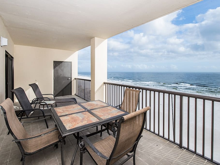 Stunning 180-degree views of the beach from the balcony
