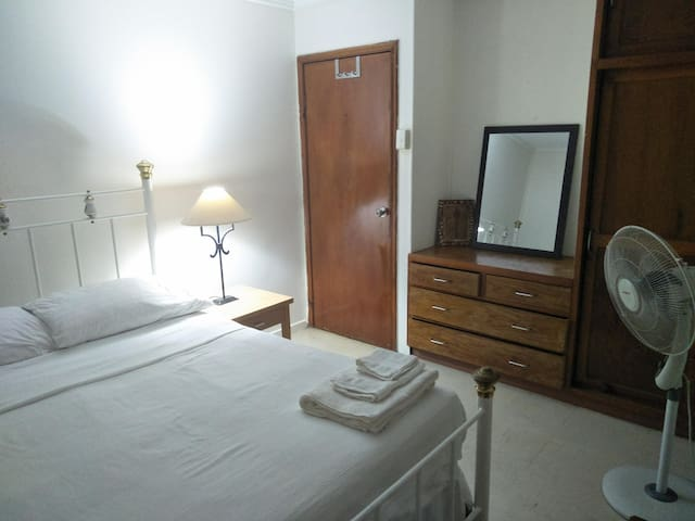 Air conditioned room with the double bed